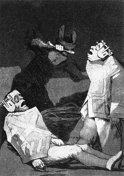 Los Chinchillas (1799). Goya und Vorahnung der Psychiatrie: Die verrückten Gedanken hinter Schloß und Riegel sperren.