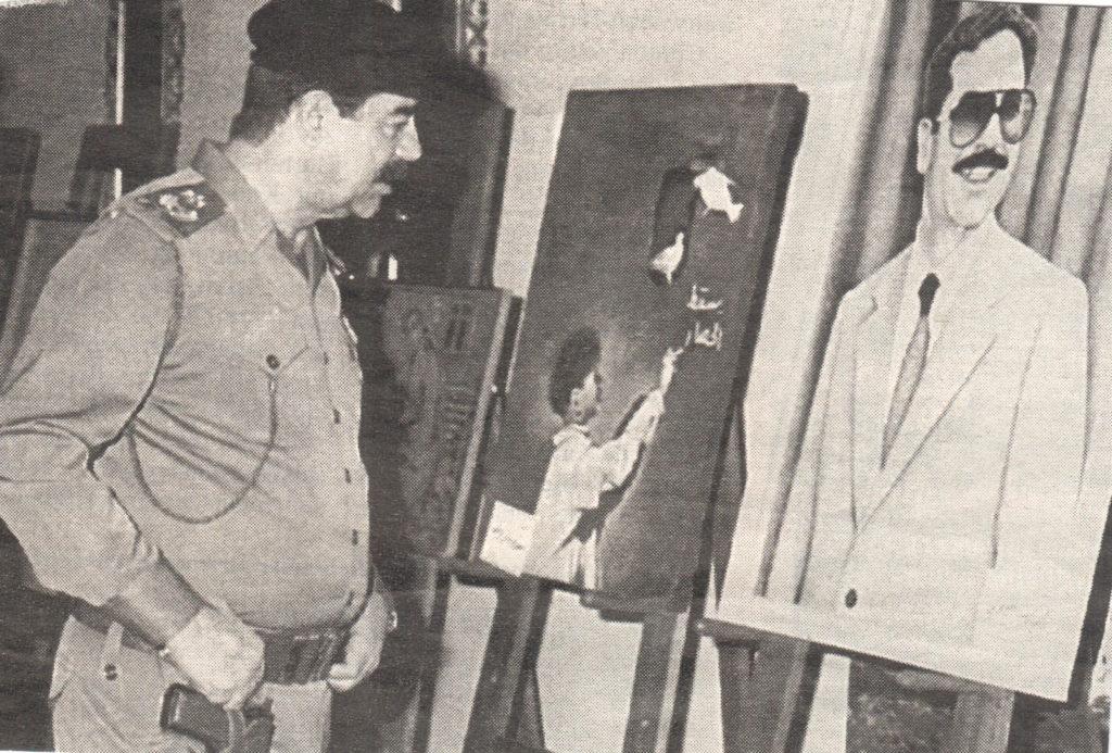Diktator Saddam Hussein in einer Ausstellung