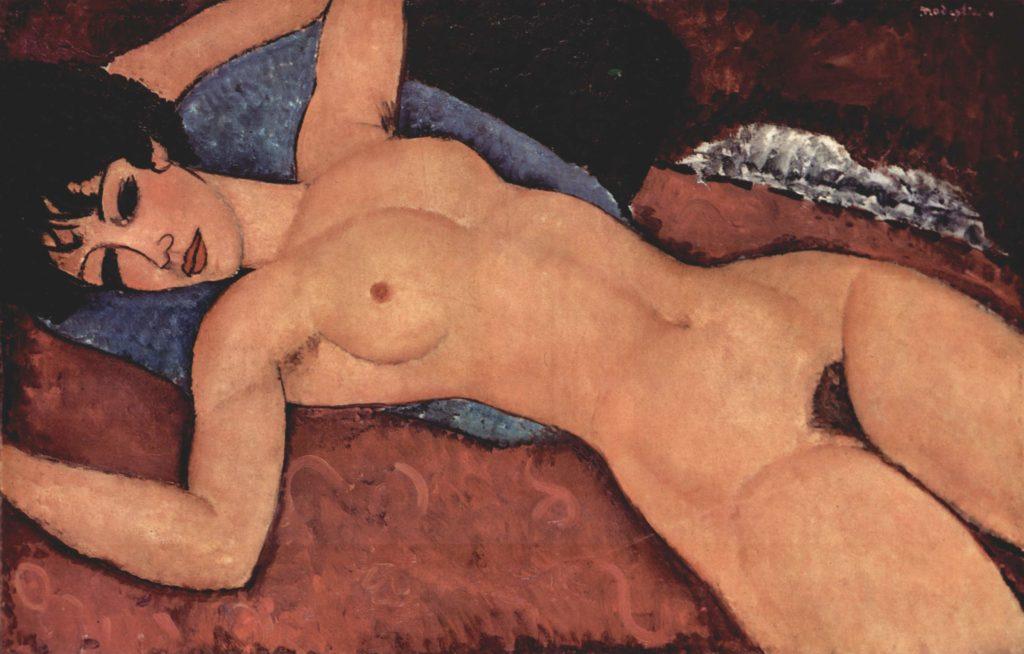 """Schöne nackte Frau im Opiumrausch?Modigliani, """"Liegender Akt"""" 1917. Long-Museum Chongqing"""