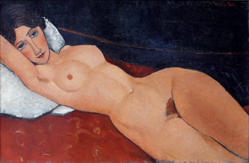 """Lasziver Blick, traumverhangen: Modigliani, """"Liegender Frauenakt auf weißem Kissen"""" 1917. Staatsgalerie Stuttgart"""