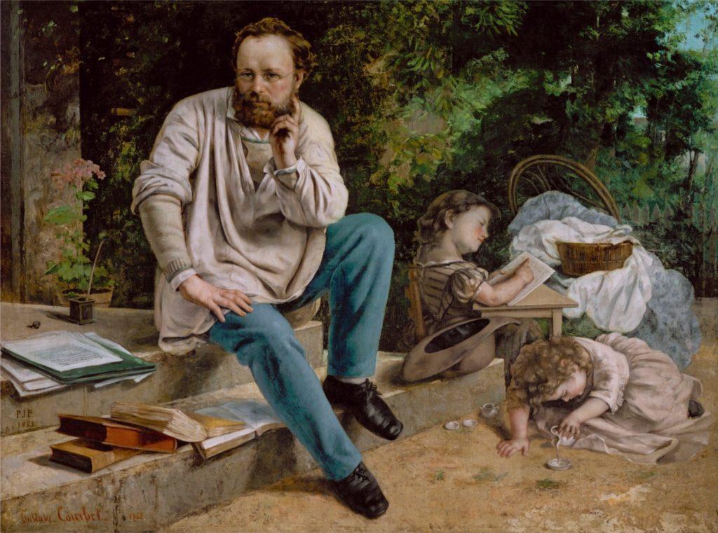 Courbet, Pierre Joseph Proudhon (1809-65) und seine Kinder 1853, 1865