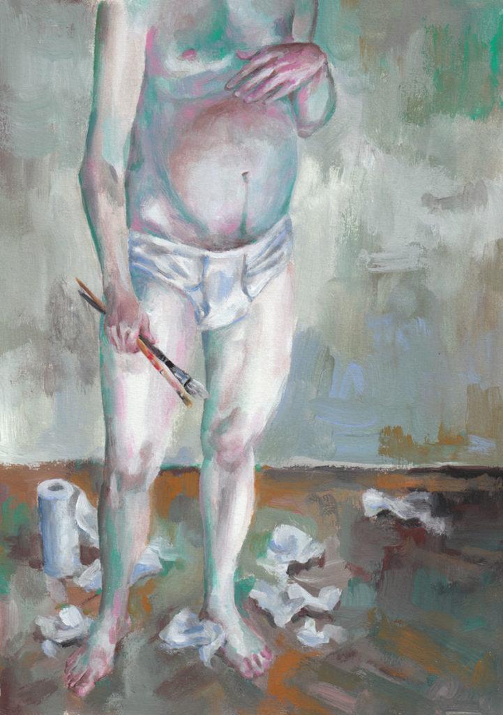 """Traumberuf Künstler – die Sehnsucht lebt gerade in der Provinz. Ronald Läpplinger aus Böblingen """"Selbstporträt in Picasso-Unterhose"""