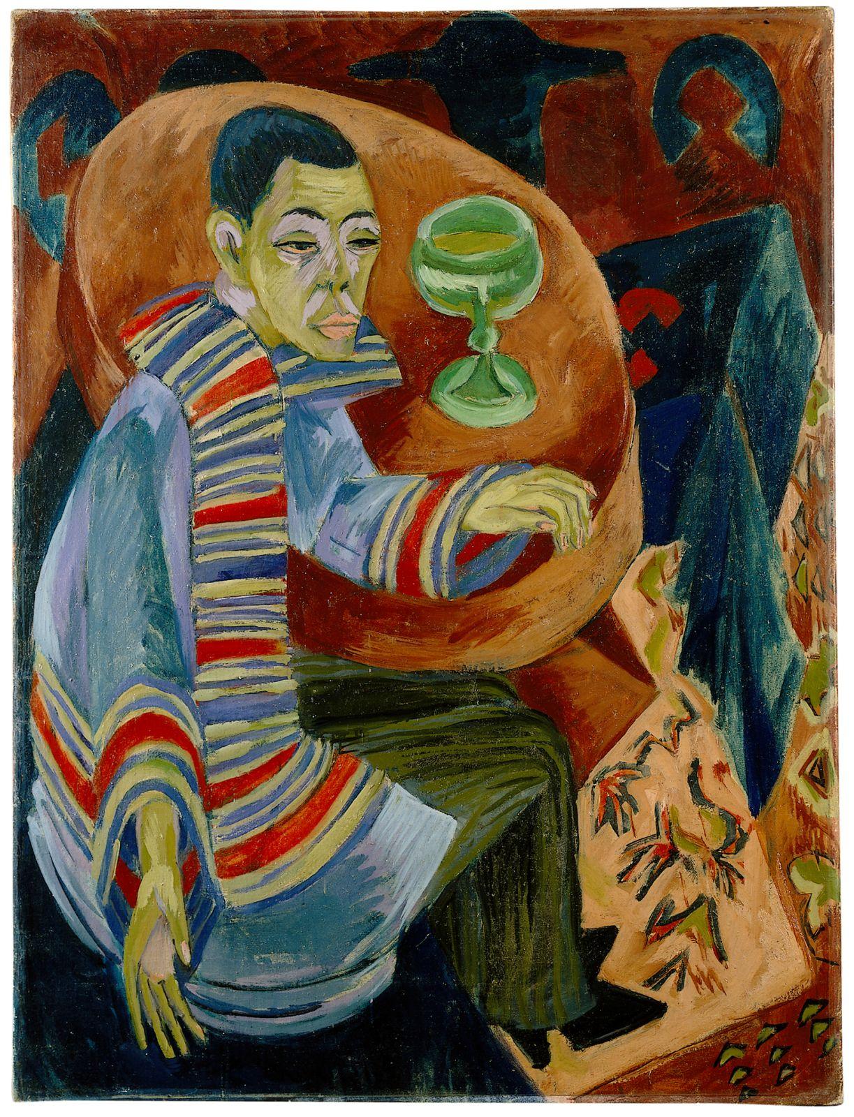 Ernst Ludwig Kirchner porträtierte sich selbst als Absinthtrinker.