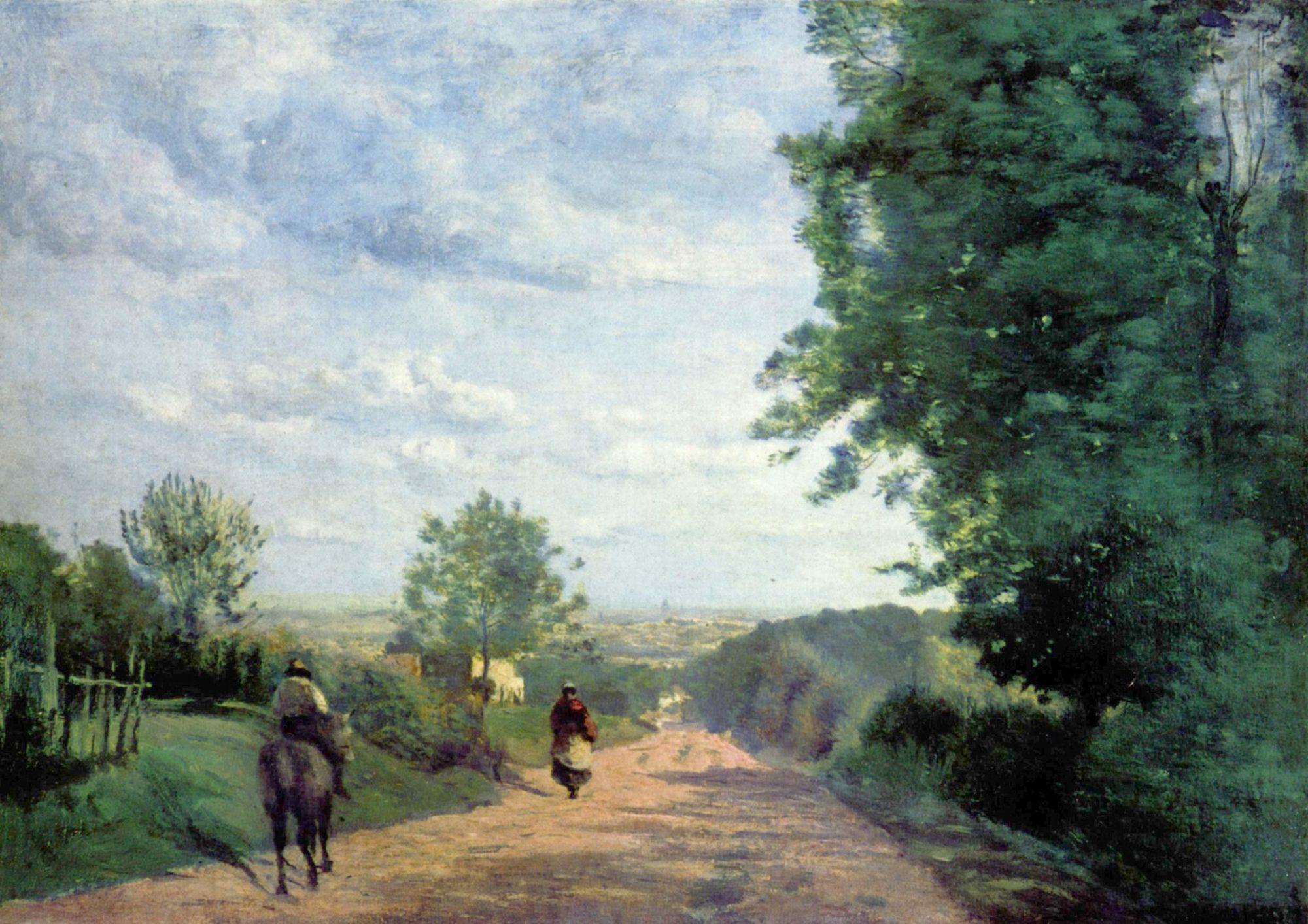 Camille Corot, Weg nach Paris, gemalt 1865. Vermisst seit dem Diebstahl aus dem Louvre am 3. Mai 1998