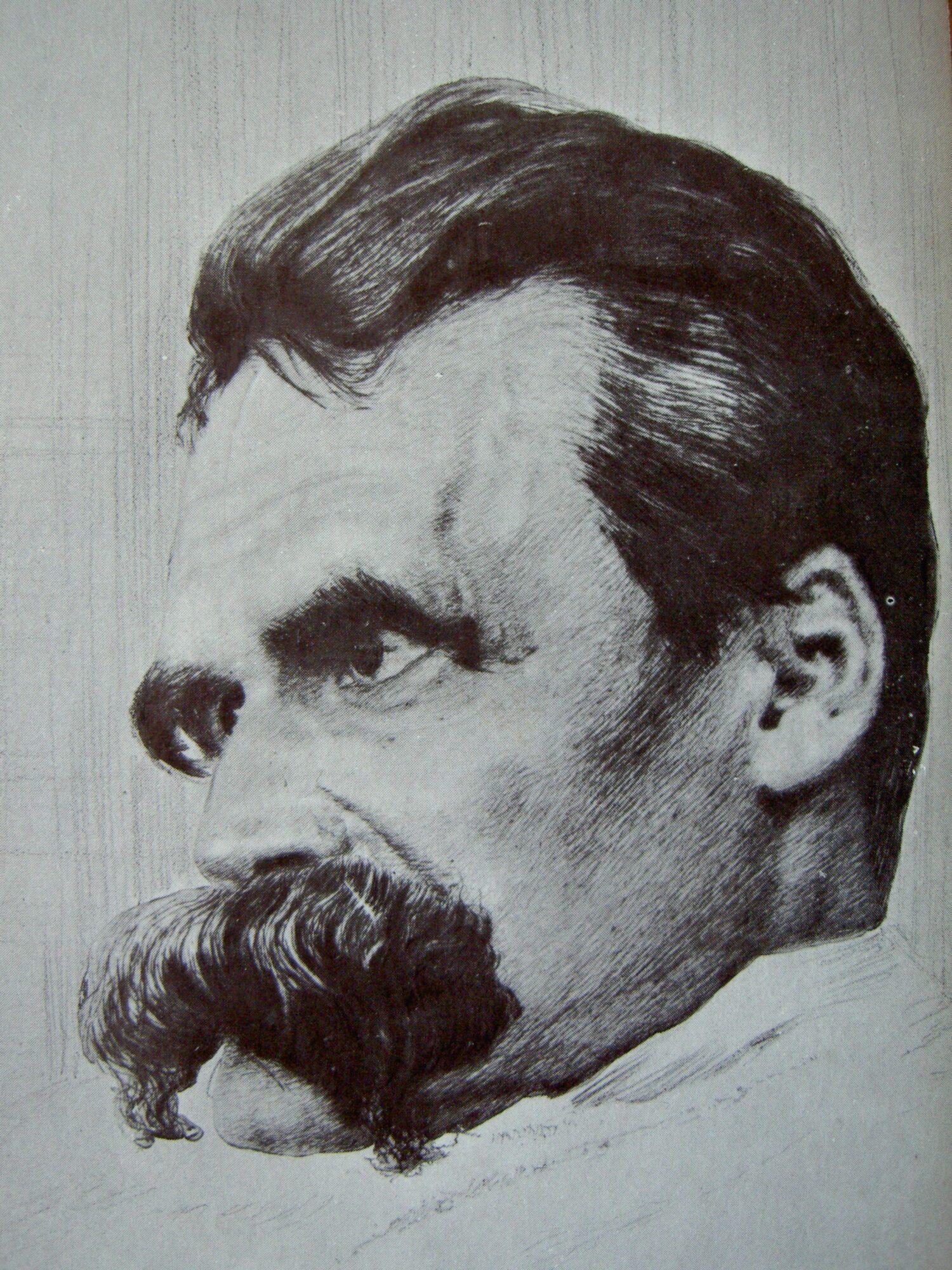 Nietzsche, der erschöpfte Mann. Radierung von Hans Olde 1899.