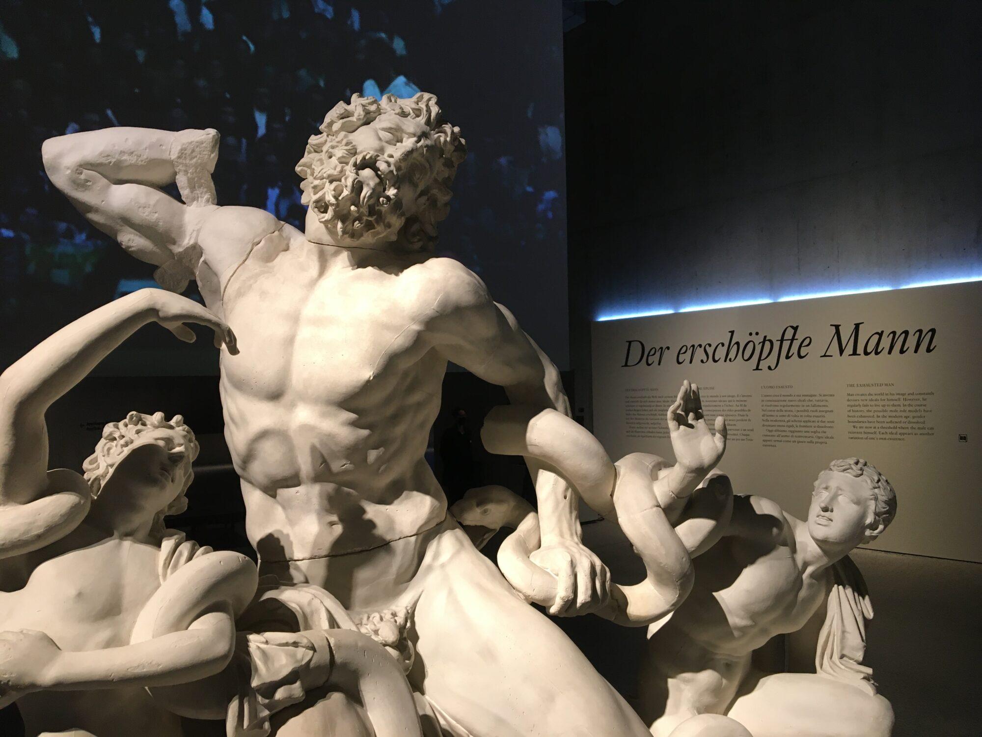 """Die Laokongruppe (Gipsabdruck)  - Kernstück und Entreé der Ausstellung """"Der erschöpfte Mann"""" im Schweizerischen Landesmuseum Zürich."""