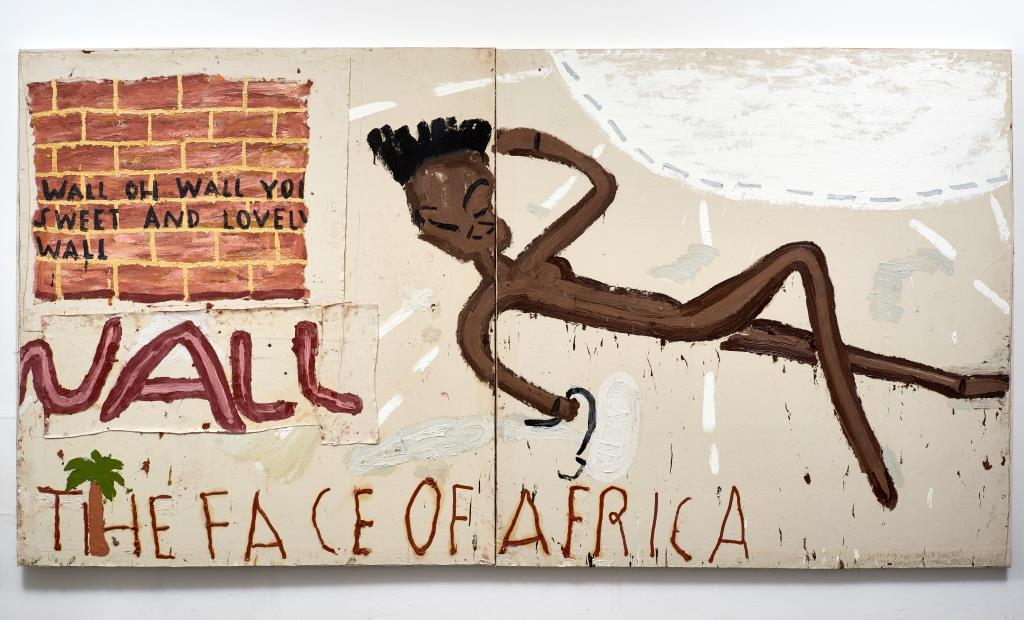 Rose Wylie, Face of Africa, Wall 2016. Öl auf Leinwand. 182 × 350 cm. Courtesy private Collection. Foto: Soon-Hak Kwon