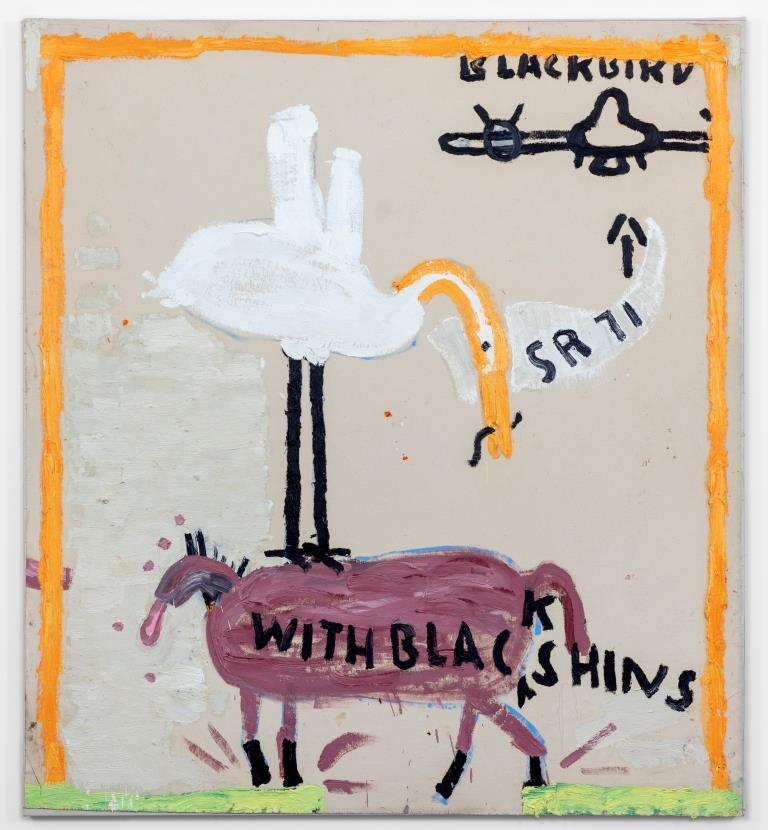 Rose Wylie, Rescue Horse, Orange Borders, 2018. Öl auf Leinwand, 183 × 166 cmCourtesy of Annie Morris and Idris Khan. Foto: Jo Moon Price