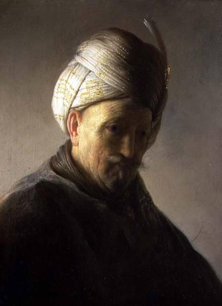 Rembrandt, Büste eines alten Mannes mit Turban, um 1627.